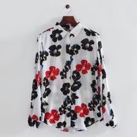 2014 autumn woman fashion cotton colored flower prints shirt turn-down collar long sleeve loose blouse 215923