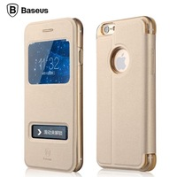 For iPhone 6 case cover Baseus Pure View Case Series Windows Leather Case For iPhone6 phone Bags Case+Free screen protector