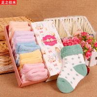 Plus velvet thickening baby socks autumn and winter 0-3 year old 100% cotton newborn thermal socks baby socks