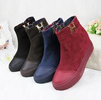 {D&T}2014Spring/Winter Women Boots,Brand Round Toe Ankle Boots Heels,Winter Shoes Woman,Zip Flat Platforms Botas Femininas,F.S.