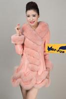 Beautiful 2014 winter woman coat outwear natural  Genuine fox fur collar 100% sheepskin leather coat