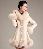Free shipping Leather Girl long 2014 winter new Haining sheep skin Nagymaros collar plus jacket Luxury elegant Ladies coat beige