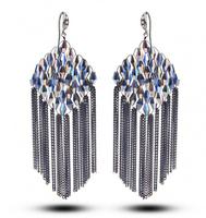 TIANSHE 2014 Gift For Women Metal Chain Tassel Eardrop Large Luxury Bohemia Hanging Earrings make With Austrian Crystal,007