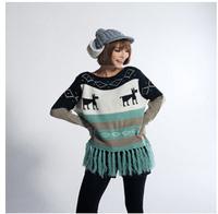 Stylish new fall jacquard sweater fringed edges Christmas deerKB676
