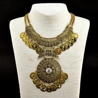 2014 New Trendy Bohemian Style Unique Head portrait Coin Vintage Statement Necklaces & Pendants Women Fashion Jewelry
