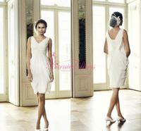 Bride Dresses Short V-neck Sheath Ruched Knee-Length Chiffon Custom Made Bridal Dress Wedding Gowns 2014 Vestidos De Matrimonio
