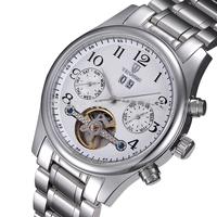 Sapphire Mirror Tourbillon Clock Men Full Steel Luxury Automatic Watch Mens Mechanical Watch TEVISE Brand Watches Men Wristwatch