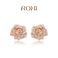 ROXI  Wholesale Rose Gold Plated Austrian crystal Stud Earring rose flower earrings fashion jewelry  2014103149