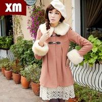 2014 winter new Korean women with fur collar wool coat sleeve leather buckle