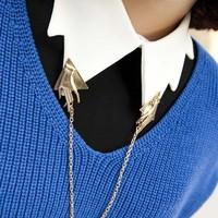 new hot sale hand modeling catwalk models tassel metal collar clip brooch LP-225