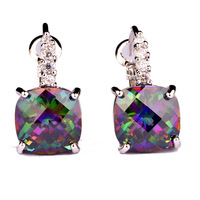 Fashion Women Earrings Hot Jewelry Mysterious Rainbow Topaz 925 Dangle Hook Silver Earring New Gift Free Shipping Wholesale