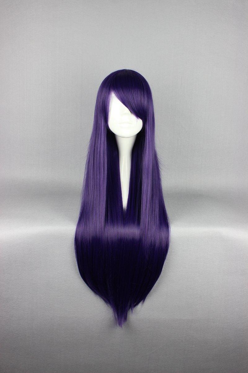 Высокое качество продвижение темно-фиолетовый парик 80 см длинные прямые парик косплей аниме парик бесплатная доставка