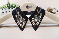 New Black Crystal Statement Choker Collar Necklace Shirt Collar For Women ChristmasGift NL-237