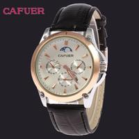 2014 Brand CAFUER Wristwatches Men Movement Calendar Genuine Leather Watch Men Quartz Business Watch Free Shipping