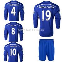DROGBA kits 14 15 Chelsea long sleeve soccer jerseys HAZARD DIEGO COSTA home football shirts+shorts FABREGAS Soccer uniforms set