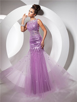 Newest long sheath high neck open back crystal sequined lilac tulle evening gown party prom dresses 2014