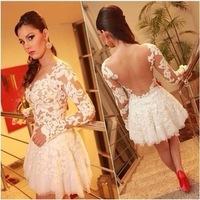2014 women lace dress backless sheer lace party casual prom evening slim vintage sexy lace dress  vestido de festa A525