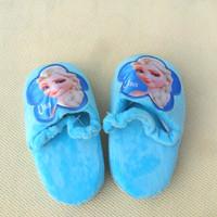 2014 New Retail Baby Boys Girls Frozen Slippers Snow Queen Elsa Anna Plush Stuffed Shoes Kids Princess Home Children Shoes