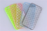 Brand New 5 Colors Grid Pattern Hotsale Protective Durable Soft Clear TPU Case+LCD Screen Protective Film For iPhone 6 4.7 inch