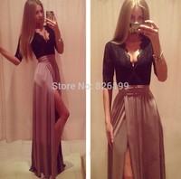 Hot New Lady Sexy Lace Bandage Party Clubwear Women Long Sleeve Maxi Long Side Slit Dress