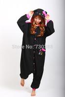 2014 Japanese Anime New Hello Kitty Kitty Cat Black Cosplay Onesie Pajamas for Adults Christmas Halloween Cosutmes