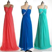Elegant Custom Made Cheap One Shoulder A-line Chiffon Prom Dress Vestidos De Formatura E276