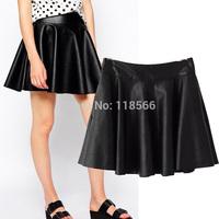 2014 Women's autumn fashion high waist PU skirt a-line short skirt