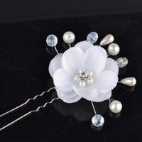 Handmade Flower Bridal Hairpins With Crystals Pearl Wedding Hair Pins And Clips Rhinestone Hair Accessories Hairgrip WIGO0360