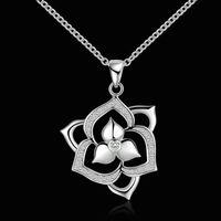 Wholesale 925 sterling silver flowers shape crystal pendant necklace,women fashion jewelry N502