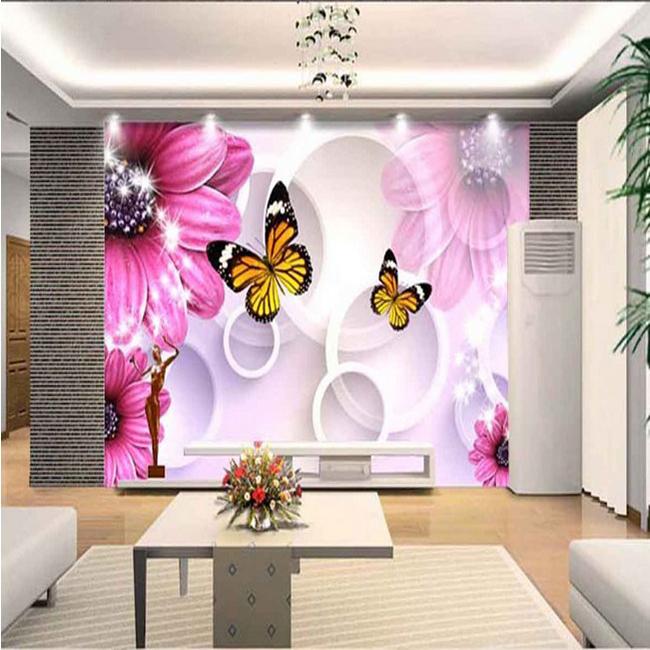 Estereosc pica 3d hermosa rom ntica wallpaper flores de for Mural de flores y mariposas