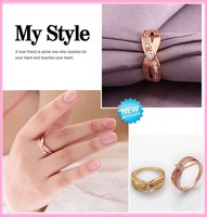 2014 New Arrival Simple Style Finger Ring 18K Gold/Platinum Plate Micro Inlay Swiss Cubic Zircon Lady Ring Wholesale