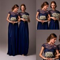 Graceful Dark Blue Cap Sleeve A-line Chiffon Bridesmaid Dress Vestidos De Madrinhas De Casamento 2014 E278