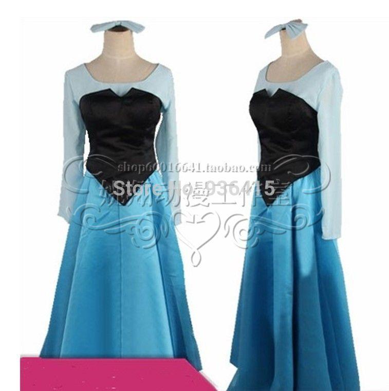 Little Mermaid Blue Dress Costume Cosplay Costume Blue Dress