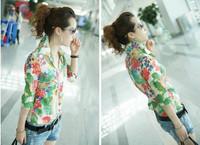 New Ladies Stylish Retro Yarn Halter Flower Pattern Shirt Slim Blouse Retro Tops SK071025