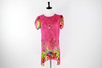 Hot New Ladies Short Sleeve Long Chiffon Blusas Plus Size Printed Hollow Out Casual Women Shirt SH81924