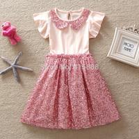 Elegant girl dress 2014 Summer New Girls Pink Cotton Top Qulity Lotus Sleeves Sequin Knee-Length TUTU Party Dress,5pcs/lot,2-6Y