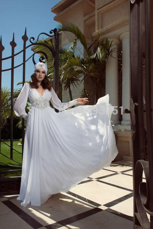 new arrivals winter autumn long sleeves v-neck trumpet white chiffon dubai abaya hijab wedding dress 2014(China (Mainland))