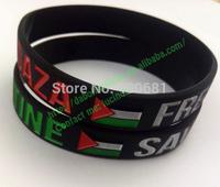 White&black Debossed Free Palestine flag bracelet