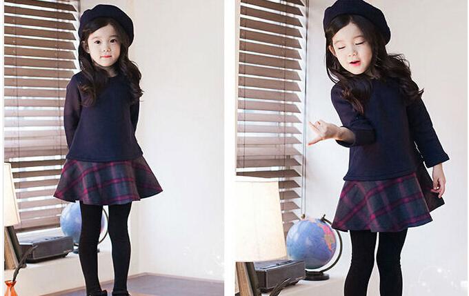 outono e inverno manga longa nova engrossar xadrez da marinha emenda menina vestido vestidos crianças velo blusa longa tops(China (Mainland))