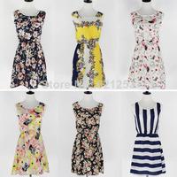New Summer 2014 Women Ladies Chiffon Sleeveless O Collar Print Dress Cheap Dress Casual Dresses Mini Dress Lovely DR070917