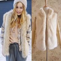 Long Coat Time-limited Promotion Freeshipping Slim 2014 Design Female Fox Fur Vest Leather Outerwear Plus Size Women Coat Jacket