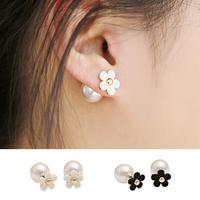 2014 New Pearl Earring Jewelry, Double Faced flower Pearl Stud Earrings, Elegant Shamballa Earrings For Women, Free shipping