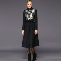 TWODS 2014 new winter woolen overcoat women fashion trench wool coats stand collar floral print belted slim outwear customized