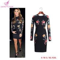 Vestidos New Fashion Flower Print Vintage Dress Sheath Slim Designer Party Evening Dresses Women Clothing Plus Size S M L XL XXL