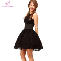 Vestidos New Fashion Party Evening Black Hollow Out Lace Dress O-Neck Vintage Dresses Women Designer Brand Clothing M L XL XXL