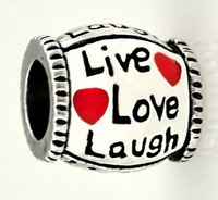 4pcs/lot 925 Silver live love laugh big hole bead European Beads Fits Silver Charm pandora Bracelets necklaces pendants