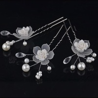 Flower Bridal Hairpins With Crystals Pearl Wedding Hair Pins And Clips Vintage Rhinestone Hair Accessories Jewelry WIGO0361