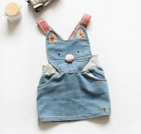 New 2014 Girl Dress Kids Denim Cute Cat Dresses Girls Overalls Children Casual Dress IG140