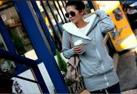 ANJO Free shipping 2014 Korea Women Hoodies Coat Warm Zip Up Outerwear Sweatshirts 4Colors WY108