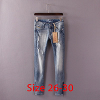 Original Single Ladies Handsome Slim Stretch Trousers Worn Washed Denim Trousers Zipper Pencil Pants Feet Women Jeans 26-30 XXXL